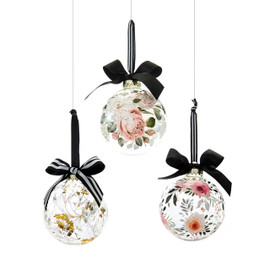 Floral Glass Ornament with Black Bow