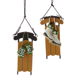 Sled ornament with mittens or ice skates.
