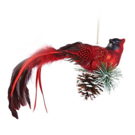 LArge glass cardinal bird ornament with pine accents and real feathers.
