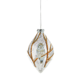 Trim the tree with this textured glass finial-shaped ornament, detailed with all-over brown branches and a white owl design. Glass.