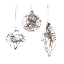 Glass terrarium ornaments twigs in glass shaped globes
