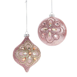 Elevate the look of the Christmas tree with this glittering pink ornament crafted with a floral design detailed with rhinestones. 2 Assorted Designs. Glitter, Stone, Aluminum.