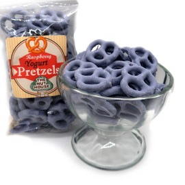 A delicious snack of crunchy pretzel twists coated with creamy blue raspberry flavored yogurt! Raspberry Yogurt Pretzels 8 oz
