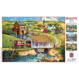 """These MasterPieces 19.25"""" x 26.75"""" 1000pc Hometown Gallery Puzzles are painted by the talented folk artist,Bob Pettes, and they feature beautiful, vintage scenes that remind us all of simpler times.  To reduce their impact on our environment, the chipboard used in these puzzles is made of recycled material."""