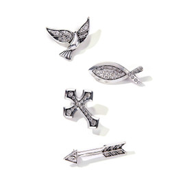 """Beautiful silver brooch pins with rhinestone accents are the perfect gift for someone on a spiritual journey. Choose from cross, fish, dove (bird) or arrow. Pins are about 2"""" across."""