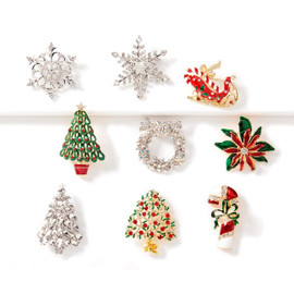 Rhinestone Christmas Pin in 9 assorted shapes