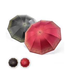 If you must walk through the rain, at least you can do it in style! Choose from red or black umbrella, both with a stippling of polka dots gathering at the edge and spreading across the surface. Matching cover and hoop on handle for carrying.  Closed: 2.5X10.5, Open: 41x28