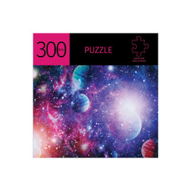 Keep your mind sharp, strengthen your short term memory and logical thinking by challenging yourself to a puzzle. Vibrantly colored galaxy 300 piece puzzle is  11.5x16.25 inches when completed. Made from a durable recycled cardboard.