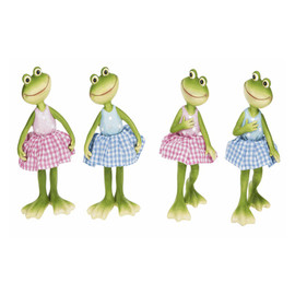 """Adorable frogs wearing colorful spring gingham dresses. One of four assorted styles, each about 3""""W. x 31/2""""D. x 7""""H."""
