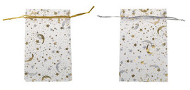 """Moon & the Stars Organza Bags  100% Polyester Color: Clear, Silver, Gold Dimensions: 3"""" W. x 5"""" H."""