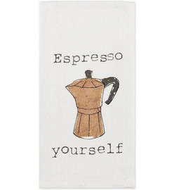 """Patterned in a charming espresso motif with the text """"espresso yourself,"""" this flour sack towel is mangle pressed to create extra surface area for maximum absorbency. It's pre-washed and pre-shrunk for long lasting quality and appearance."""