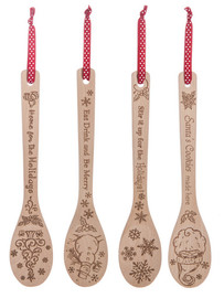 Christmas Stir Crazy Wooden Spoons on a red polka dot ribbon.  Choose from four assorted designs.  Sold individually.