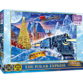 The Polar Express Glow in the Dark puzzle features The Polar Express as it pulls into the North Pole for a visit to Santa. Put it together, turn out the lights, and watch it glow! This puzzle is 100 pieces and 19 inches x 14 inches in size. Look for The Right Fit® puzzles collection and make sure your little one gets the correct piece count and size for a good challenge for their age. This puzzle is the right fit for ages 6+.