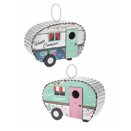 "How cute is this birdhouse with adorable floral accents and metal roof! Perfect for your RV, retro glamour camper, or ""she shed"" this adorable bird house welcomes avian visitors with bright spring colors. 10""x 6 1/2"" x 4 ""  Sold individually."