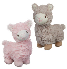 """Pink or soft brown baby llamas with ultrasoft plush fur make a gentle rattling noise when shaken. Embroidered eyes and smile are safe for baby and can easily be laundered. 9"""" tall"""