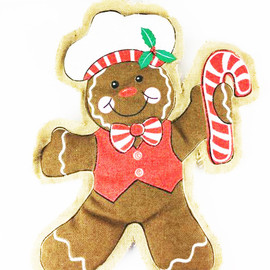 """Mesh Burlap sack Gingerbread man with a Baker hat.  About 24"""" H  x 18"""" W 27""""H X 28""""W X 2""""D  1 assortment of 3"""
