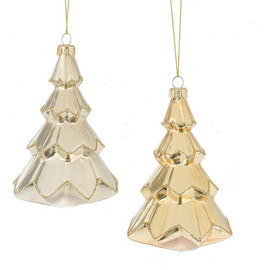 "Choose between a gold or silver design with these elegant glass tree ornaments.  Dimensions: 3.375"" L. x 3.375"" W. x 5.25"" H"