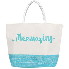 The ultimate beach bag for any mermaid fanatic! Polyester tote features 'mermazing' sentiment with two tone design and glitter detail.