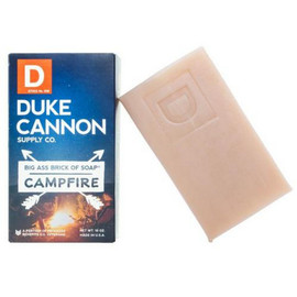 Duke Cannon's idea of a great night does not involve going to that fancy vegan juice bar downtown or binge-watching vampire dramas on the Internet. No, Duke Cannon's perfect night is under a starry sky, by the light of a glowing campfire, where stories are told without emojis and memories are made without selfies. Experience the rich scent of fresh cut hickory and celebrate a return to basics with the large American-made soap inspired by the burning wood of a blazing campfire.  Part of the Great American Frontier Collection from Duke Cannon. Because the outdoors smell nice.  Product Specs:  - Triple milled for superior quality  - At 10 oz., it's 3x the size of common bar soaps - Made in USA