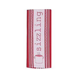 A cotton jacquard tea towel patterned in a cooking pot motif will add a charming touch to your kitchen linen collection.