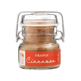 Orange Cinnamon 2.4 oz Ingredients: Sugar, Spice, Salt, Molasses Powder, Citric Acid, Orange Oil, Spice Extractive, Silicon Dioxide added to prevent caking. This product is packaged on equipment that makes products containing wheat, eggs, milk, soy and tree nuts.
