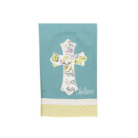 "This cross tea towel is perfect for any season and makes a nice gift! Handmade in a fair trade factory. Measures 19"" x 25"""