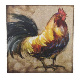 "Handsome rooster poses on this large 16"" x 24"" box style sign. Burlap with large brass rivets trim the frame, and there is a wire on the back for hanging. Wouldn't he look great in your kitchen?"