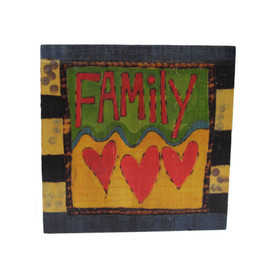 """Painted Peace """" Family"""" Wooden Art Cube - Design by Stephanie Burgess Dimensions: 4"""" H  x 4"""" Square Different design on each side"""