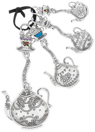 "Beauty can be measured with these intricately-detailed, pretty teapot-shaped silver-tone spoons. This four-piece set adds a dash of happiness with every scoop. Dimensions: 51/2"" L. avg."