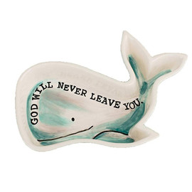 """Perfect for all your little jewelry or trinkets, this """"God will never leave you"""" dish give you a peaceful truth too.  4"""" x 6"""""""