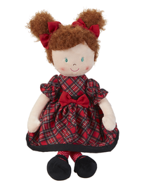 "Noelle has a red plaid dress and curly auburn hair. 20"" tall rag doll"