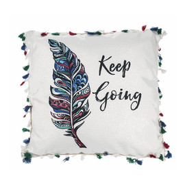 Keep Going Tassel Throw Pillow.