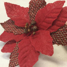 """Red Burlap Poinsettia has flower 8"""" across with Stem 24"""" long. Perfect for holiday floral arrangements or in a tree."""