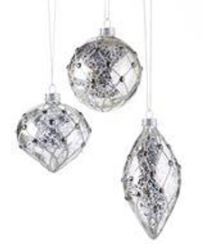 Silver glass ornament made with rhinestones and a diamond design. Choose one of 3 Assorted Designs: Round, Onion, Teardrop. Glass.