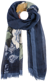 Botanical Vintage Look Scarf - Blue