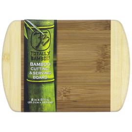 "Quality and affordability.  This flat grain 2-Tone Cutting Board is  built to be your everyday, go-to board. It's also priced to make you feel even better about choosing renewable bamboo. Hand wash, mild soap Measures 8"" x 5-3/4"" x 1/2"" thick."
