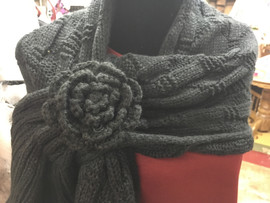 Crochet Keyhole Scarf With Flower