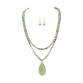 Gold Mint Green Glass Bead Two Strand Hi Lo Green Glass Teardrop Pendant Necklace Set