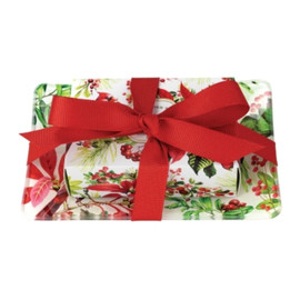 """All tied up with a bow and ready to go! Our sweet new holiday Gift Soap Set features a boxed single soap and coordinating glass soap dish fastened together with a grosgrain ribbon. No wrapping required! DETAILS Rectangular Glass Soap Dish: 5.75 x 3.75 x .5"""" / 14.6 x 9.5 x 1.3 cm, 4.5 oz SCENT Holly and winter florals tinged with touches of eucalyptus and rain"""