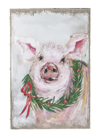 """Large plaque features a jolly pig wearing a Christmas wreath 15 3/4"""" W. x 23 3/4"""" H."""