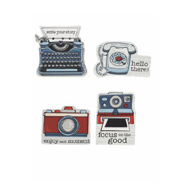 "These die cut magnets come in four different vintage designs.  Each is sold individually.  Dimensions: 31/4"" W. x 1/2"" D. x 3"" H."