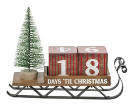 "Urban Christmas Countdown Calendar MDF/Iron/Nylon Brown, Gray 9"" L. x 41/2"" H. x 31/2"" D."