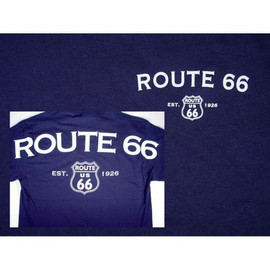 Deep blue shirt with large white letters screened on front and back. A simple memento of your time on the Mother Road.