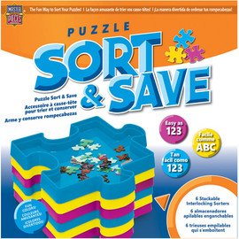 This puzzle keeper includes 6 stackable interlocking sorter trays to help you organize and plan your puzzling. Six (6) stackable interlocking sorter trays Size: 7.85 inch x 7.85 inch puzzle shaped trays Feature: Interlocking shape lets you make a puzzle while you sort