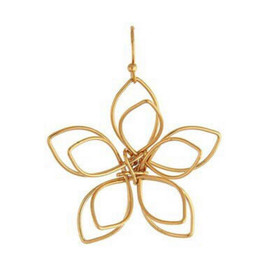 Gold Three Dimensional Wire Flower Earring
