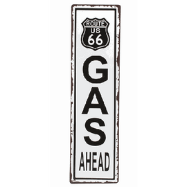 "Route 66 Gas sign wall decor. Dimensions: 5"" W. x 18"" H."