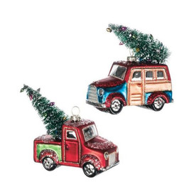 """Two styles of glass retro vehicles- a woody wagon or red pickup, ready to take you back to a simpler time. Finely detailed hand painted glass ornament is a perfect gift for anyone who loves vintage, retro, or country styles. Bristle tree on back of ornament.  Dimensions:5.5""""L x2""""W x4""""H 4.5""""L x2.25""""W x4.5""""H Sold individually."""