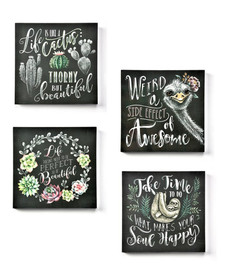 Leave yourself a friendly reminder before heading out the door by hanging this plaque with a chalkboard design and a positive sentiment.
