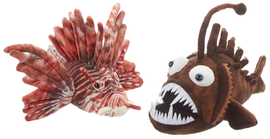 """The coolest fish that you will (probably) ever own.  Choose between two assorted designs: lionfish or angler.  Each is sold individually.  Size: 8"""""""