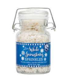 Beautiful White Snowflake Sprinkles will make any of your Holiday Baked Goods vibrant with Holiday Cheer!